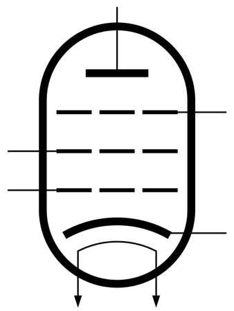 electron: The symbol of a pentode electron valve