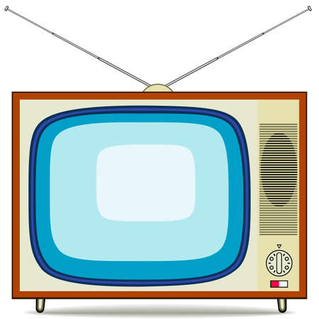 tv icon: Vector illustration of a old TV set Illustration