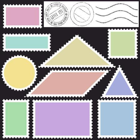 parallelogram: Set de iconos de unos sellos de correos en negro Vectores