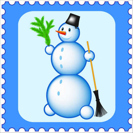 besom: Snowman stamp icon in vector illustration