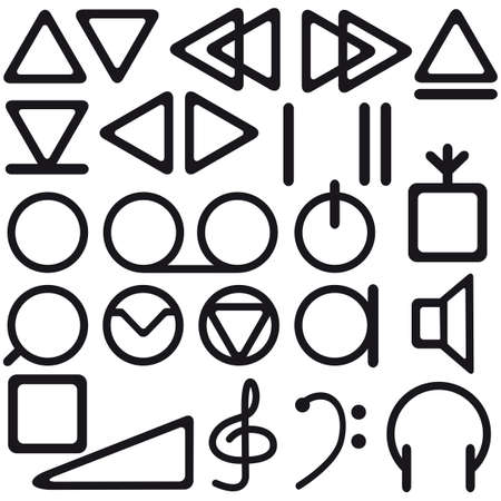 The set of a tape recorder symbols Stock Vector - 12770587