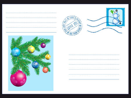Mail envelope with Snowman stamp and Christmas tree Vector