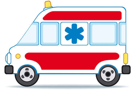 emergency services: Emergency car icon on white background Illustration