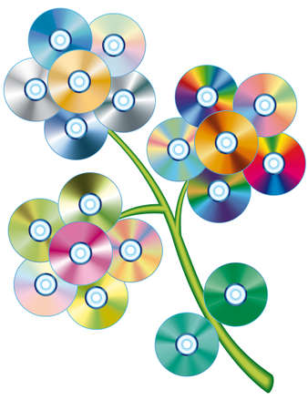 Compact disc collection assembled in the form of a flower - blend  and gradient only. All objects fully editable and are on separate layers Illustration