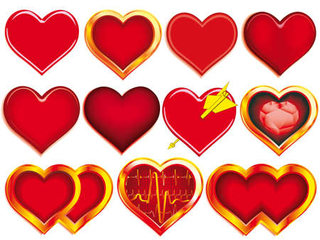 Collection of Hearts for various designs Vector