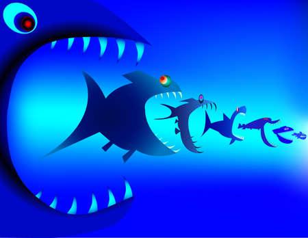 d�vorer: Pr�dateurs de poissons d�vorent les uns les autres