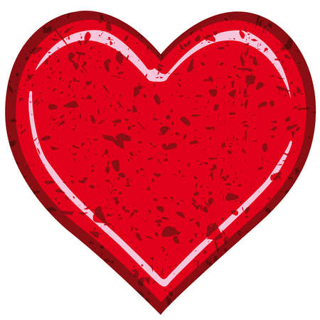 weatherworn: Grunge valentine heart on a white background Illustration