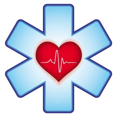 electrocardiograma: Icono de Medicina de la cruz y el coraz�n
