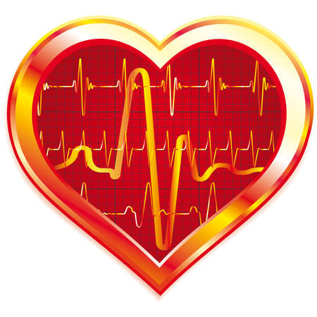 Stylized Heart pulse on white background Vector