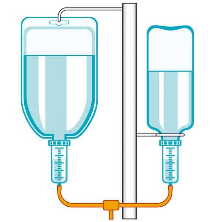 kunststoff rohr: Die intraven�se Tropf-Symbol auf wei�em Hintergrund Illustration
