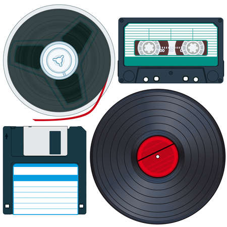 compact cassette: Old Media set for various design