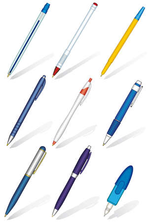 Ballpoint pens set on a white background Ilustracja