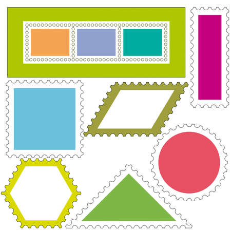 parallelogram: Set of a postage stamps icons Illustration