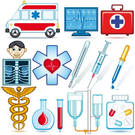 医療アイコンとシンボル セット各オブジェクトが完全に編集可能なとを別のレイヤー上にあります。