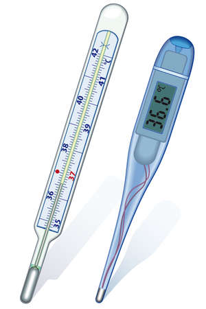 clinical thermometer: Classic and digital thermometers on white background - blend only