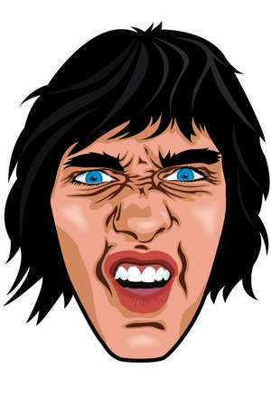 blank expression: Stylized portrait illustration of angry guy