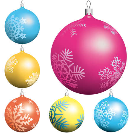 Christmas ball collection on white background Vector