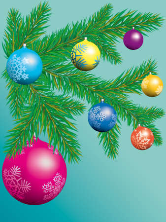 Christmas tree with glass balls Vector