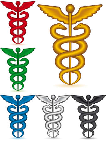 medical drawing: A set of the medical symbol caduceus on white background - blend only
