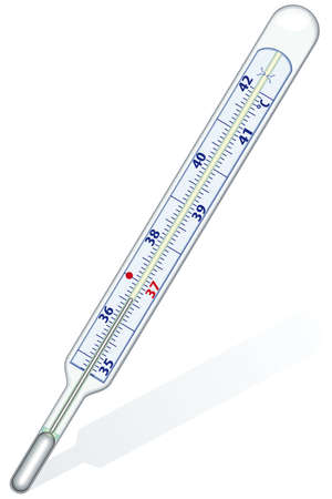 Clinical thermometer on white background - blend only Vector