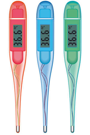 quicksilver: Digital clinical thermometers on white background - blend only Illustration