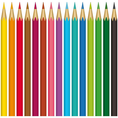 A set of 15 color pencils on a white background - blend only Vector