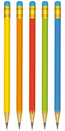 A set of 5 pencils on a white background - blend only Vector