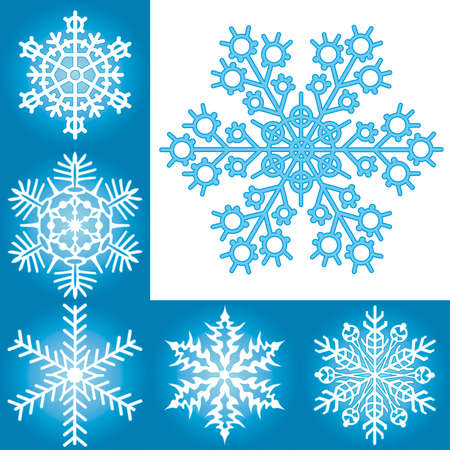 Snowflake collection for vector design Vector