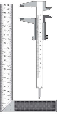 vernier: Metal angle and calliper on a white background