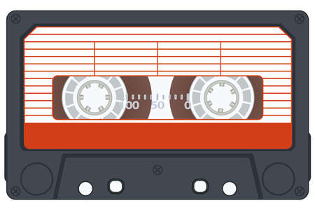 Audio cassette on white background. Vector without gradients Vector