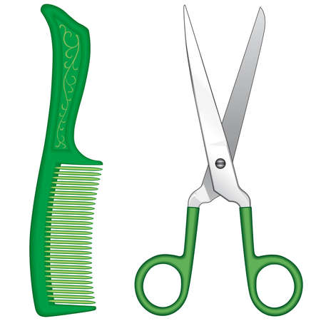 Comb and scissors on a white background Vector