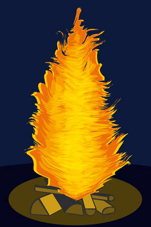 bonfire night: Night bonfire. Vector without gradients