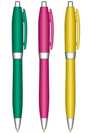 白い背景の上のボールペン  イラスト・ベクター素材