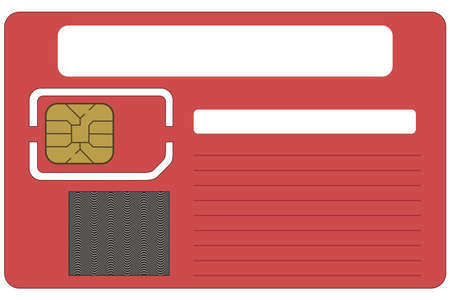 sim: SIM card blank on a white background Illustration