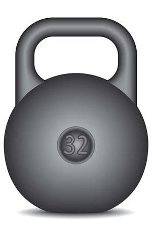 Black kettlebell on white background - blend only