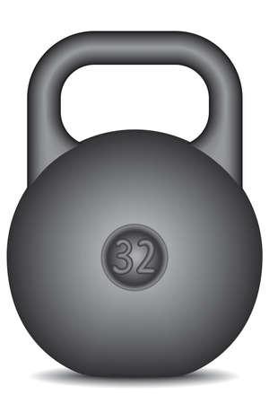 Black kettlebell on white background - blend only