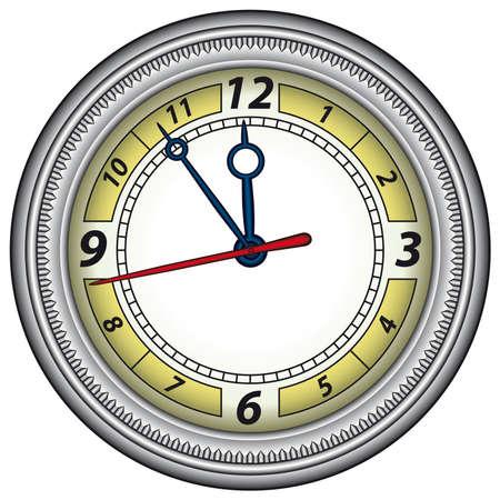 office clock: Cl�sico reloj de la oficina en un marco de acero. Vector sin malla Vectores
