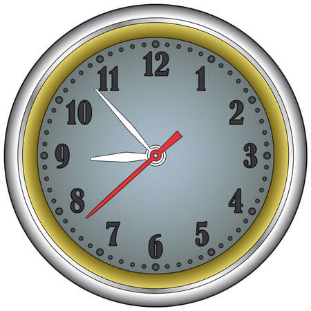 steel frame: Classic office clock in a steel frame. Vector without mesh Illustration