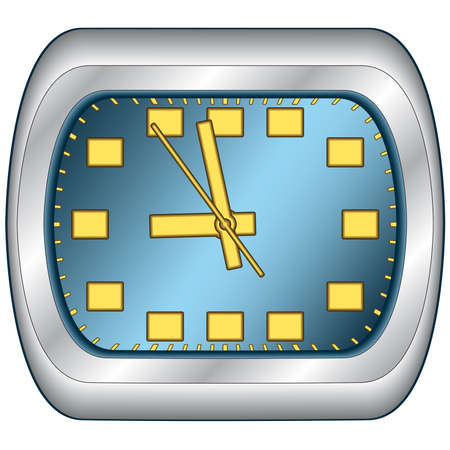 steel frame: Office clock in steel frame. Vector without mesh Illustration
