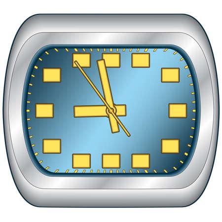 office clock: Oficina de reloj en el marco de acero. Vector sin malla