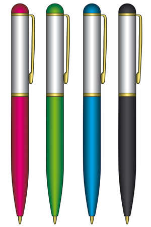 Ballpoint pens on a white background Stock Vector - 13124663