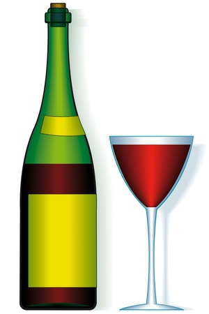 Bottle and wineglass - blend only Stock Vector - 13160526