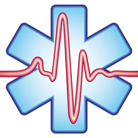 Medical icon of the cross and the stylized ECG Stock Vector - 13160521