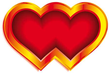 Doble de oro de San Valentín del corazón sobre fondo blanco Foto de archivo - 13160519