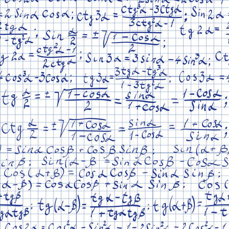 Seamless pattern of trigonometrical formulas Vectores
