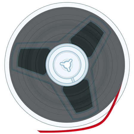 Magnetic tape reel on white background without gradients Vector