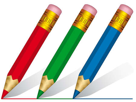 Short pencils on a white background - blend and gradient only Vector