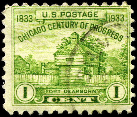 USA - CIRCA 1933: A Stamp printed in USA shows Restoration of Fort Dearborn, Century of Progress Issue, circa 1933 photo
