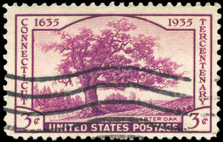 USA - CIRCA 1935: A Stamp printed in USA shows Charter Oak, Connecticut Tercentenary Issue, circa 1935 Stock Photo - 13160627