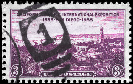 USA - CIRCA 1935: A Stamp printed in USA shows View of San Diego, California-Pacific Exposition Issue, circa 1935 photo